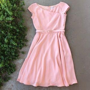Gal Meets Glam Sally Coral Asymmetrical Neck Dress